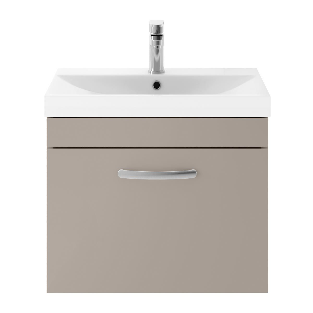 Nuie Athena Stone Grey 1 Drawer Wall Hung Vanity Unit with 50mm Profile Basin 600mm