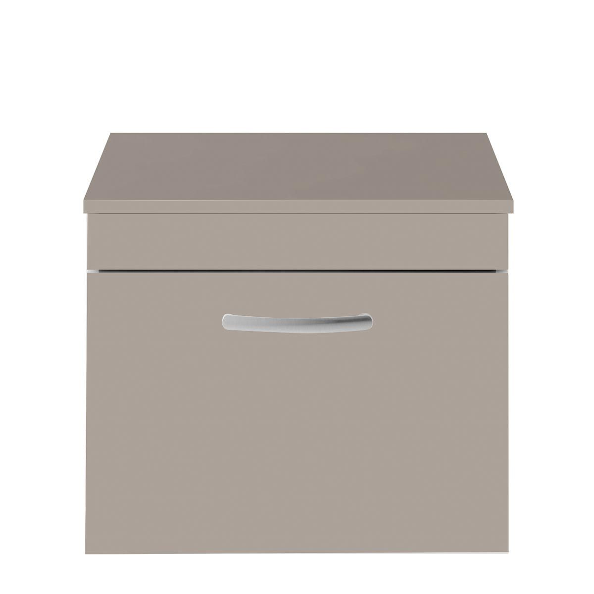 Nuie Athena Stone Grey 1 Drawer Wall Hung Vanity Unit with 18mm Worktop 600mm