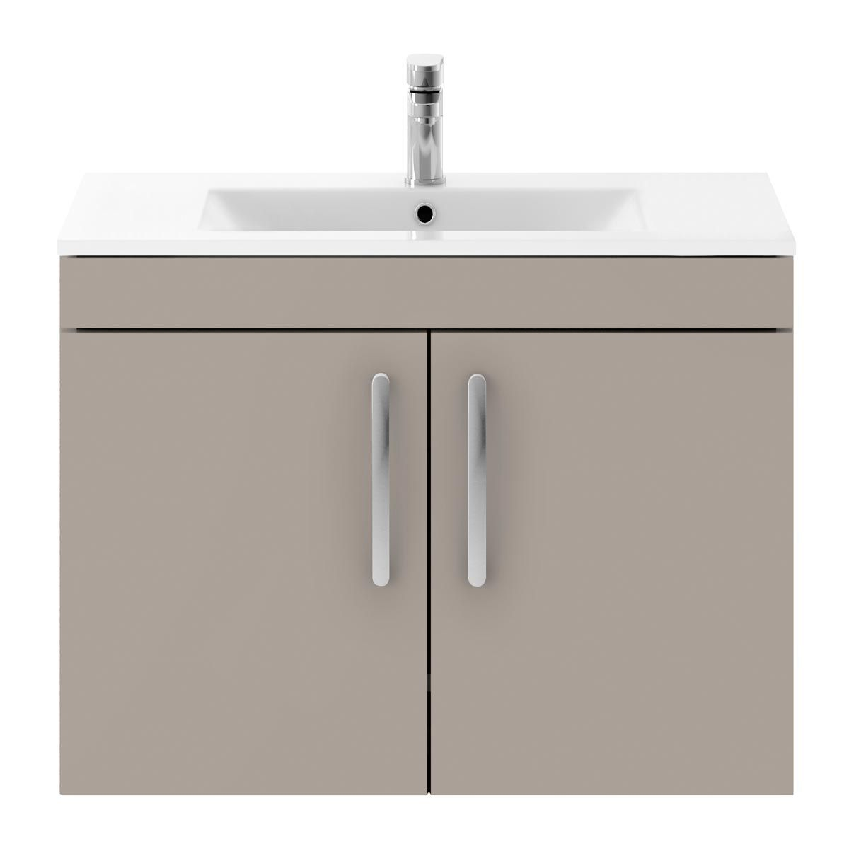 Nuie Athena Stone Grey 2 Door Wall Hung Vanity Unit with 18mm Profile Basin 800mm