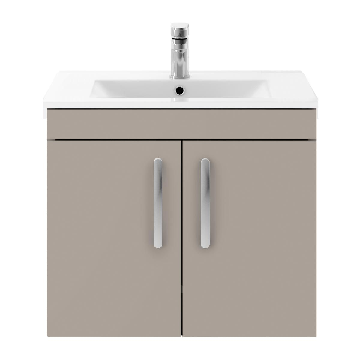 Nuie Athena Stone Grey 2 Door Wall Hung Vanity Unit with 18mm Profile Basin 600mm