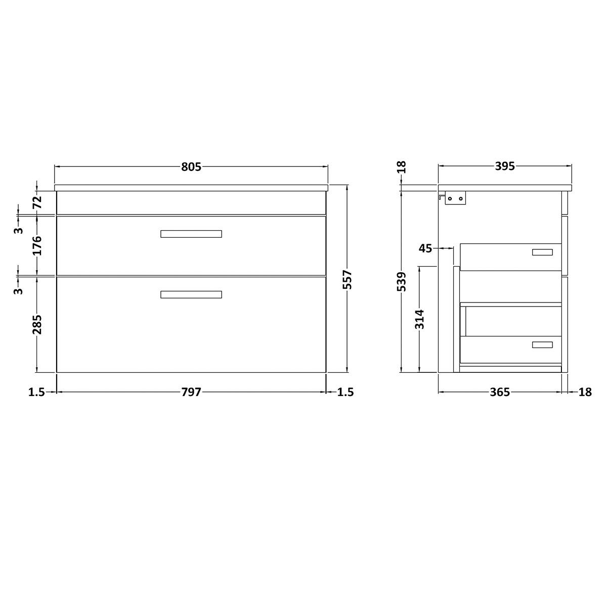 Nuie Athena Stone Grey 2 Drawer Wall Hung Vanity Unit with 18mm Profile Basin 800mm Line Drawing