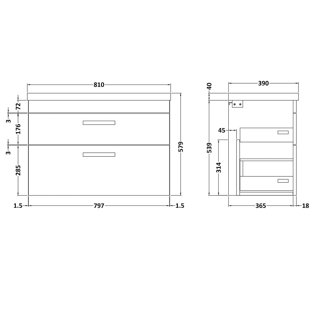 Nuie Athena Stone Grey 2 Drawer Wall Hung Vanity Unit with 40mm Profile Basin 800mm Line Drawing