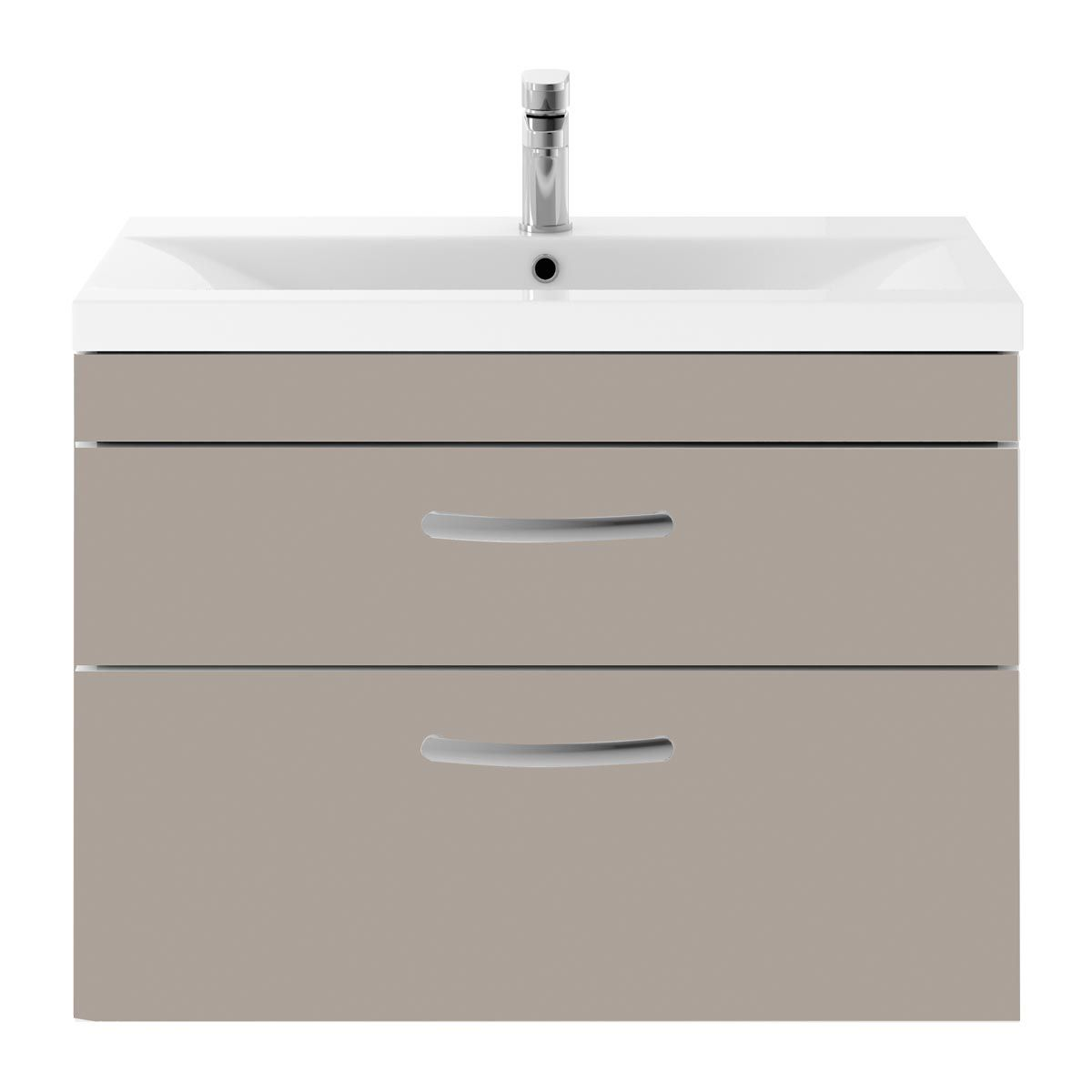Nuie Athena Stone Grey 2 Drawer Wall Hung Vanity Unit with 40mm Profile Basin 800mm