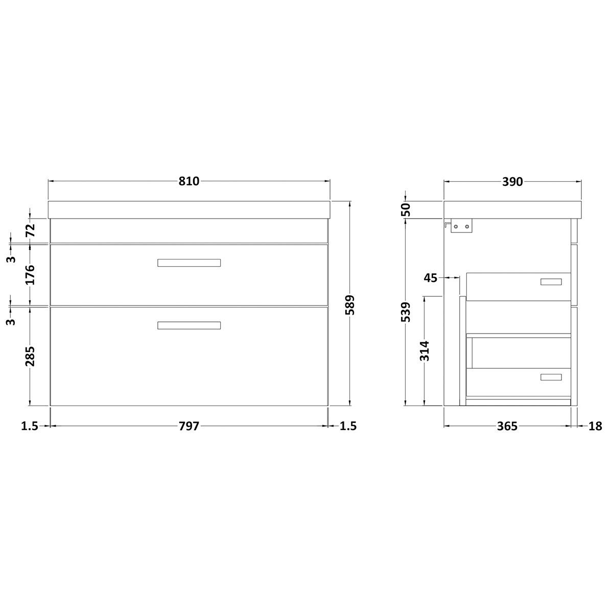 Nuie Athena Stone Grey 2 Drawer Wall Hung Vanity Unit with 50mm Profile Basin 800mm Line Drawing
