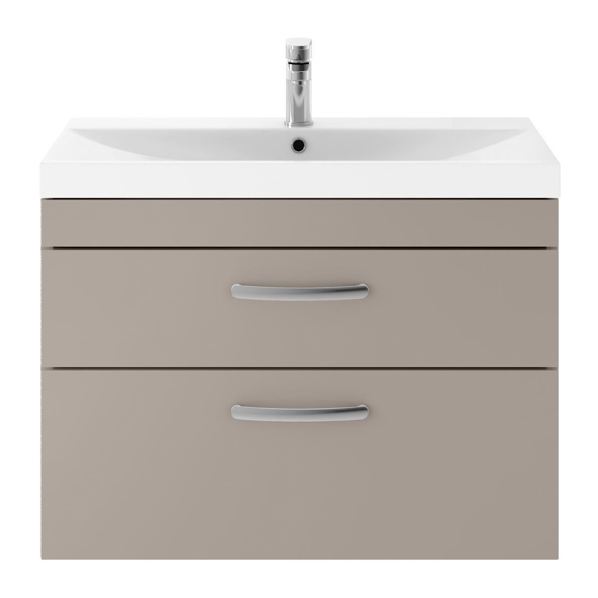 Nuie Athena Stone Grey 2 Drawer Wall Hung Vanity Unit with 50mm Profile Basin 800mm