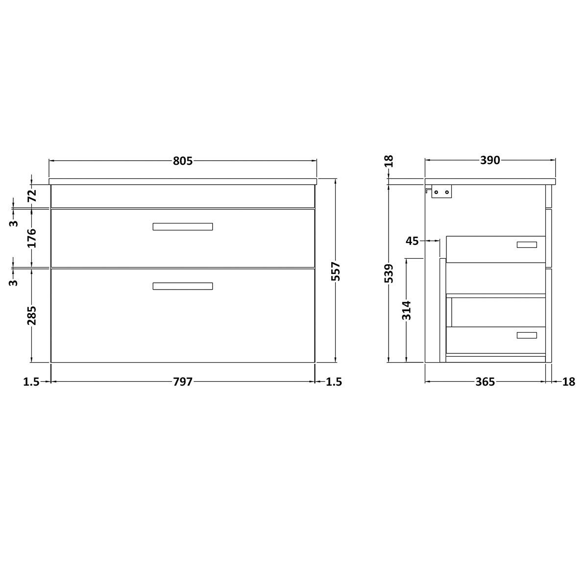 Nuie Athena Stone Grey 2 Drawer Wall Hung Vanity Unit with 18mm Worktop 800mm Line Drawing