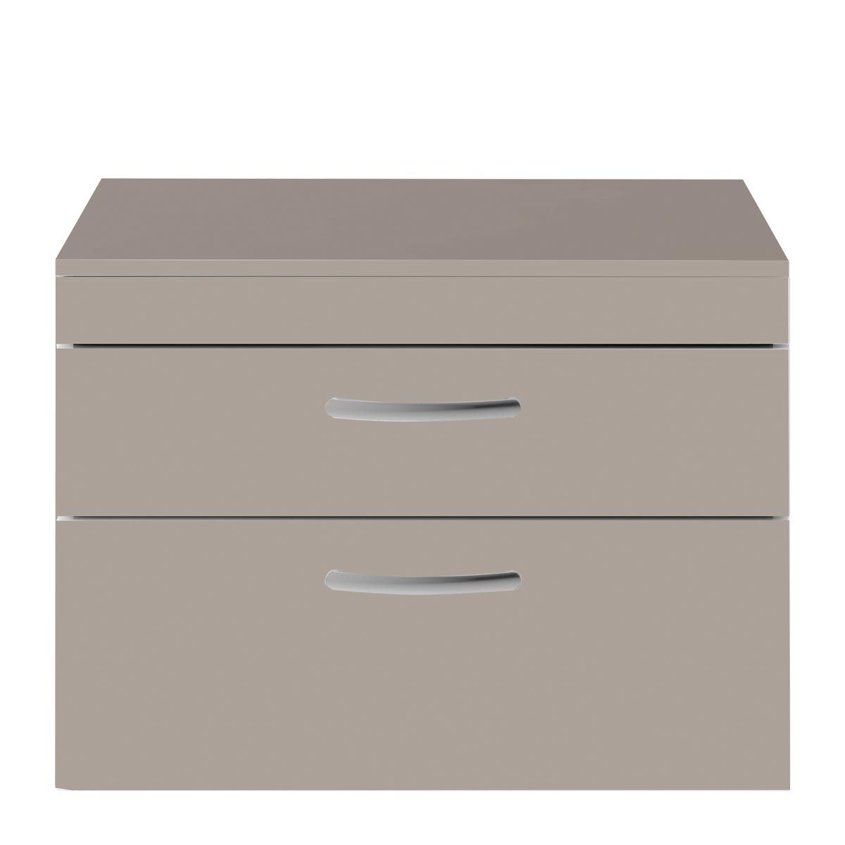 Nuie Athena Stone Grey 2 Drawer Wall Hung Vanity Unit with 18mm Worktop 800mm
