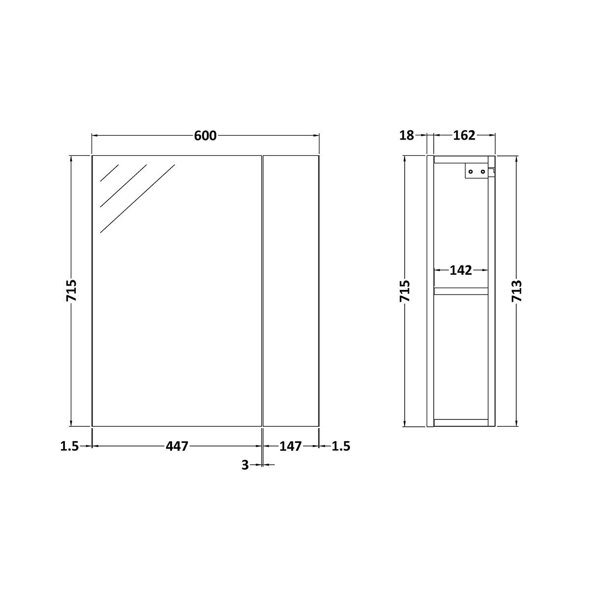Nuie Athena Stone Grey Double Mirrored Bathroom Cabinet 600mm Line Drawing