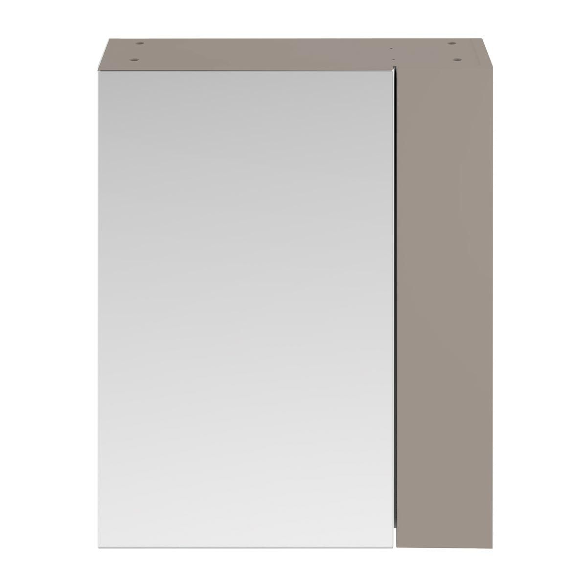 Nuie Athena Stone Grey Double Mirrored Bathroom Cabinet 600mm