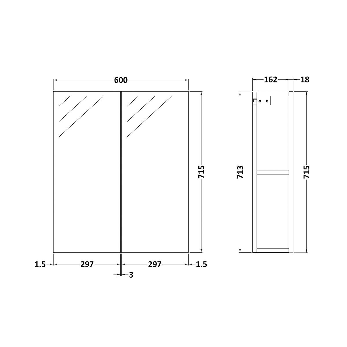 Nuie Athena Stone Grey Double Mirrored Bathroom Cabinet Line Drawing