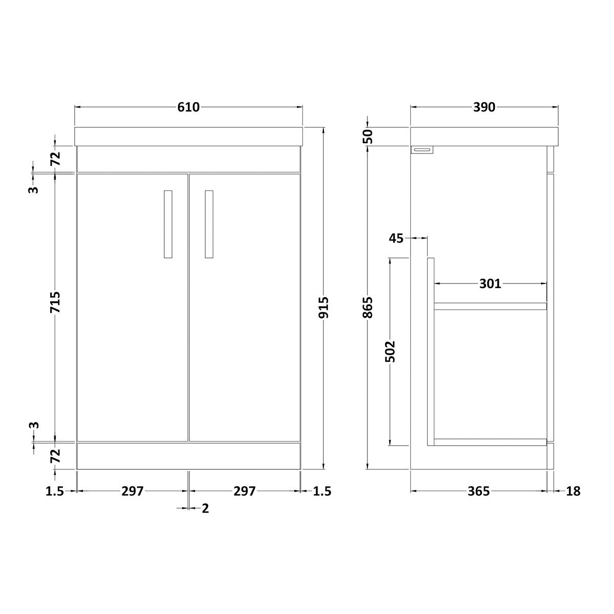 Nuie Athena Gloss White 2 Door Floor Standing Vanity Unit with 50mm Profile Basin 600mm Line Drawing