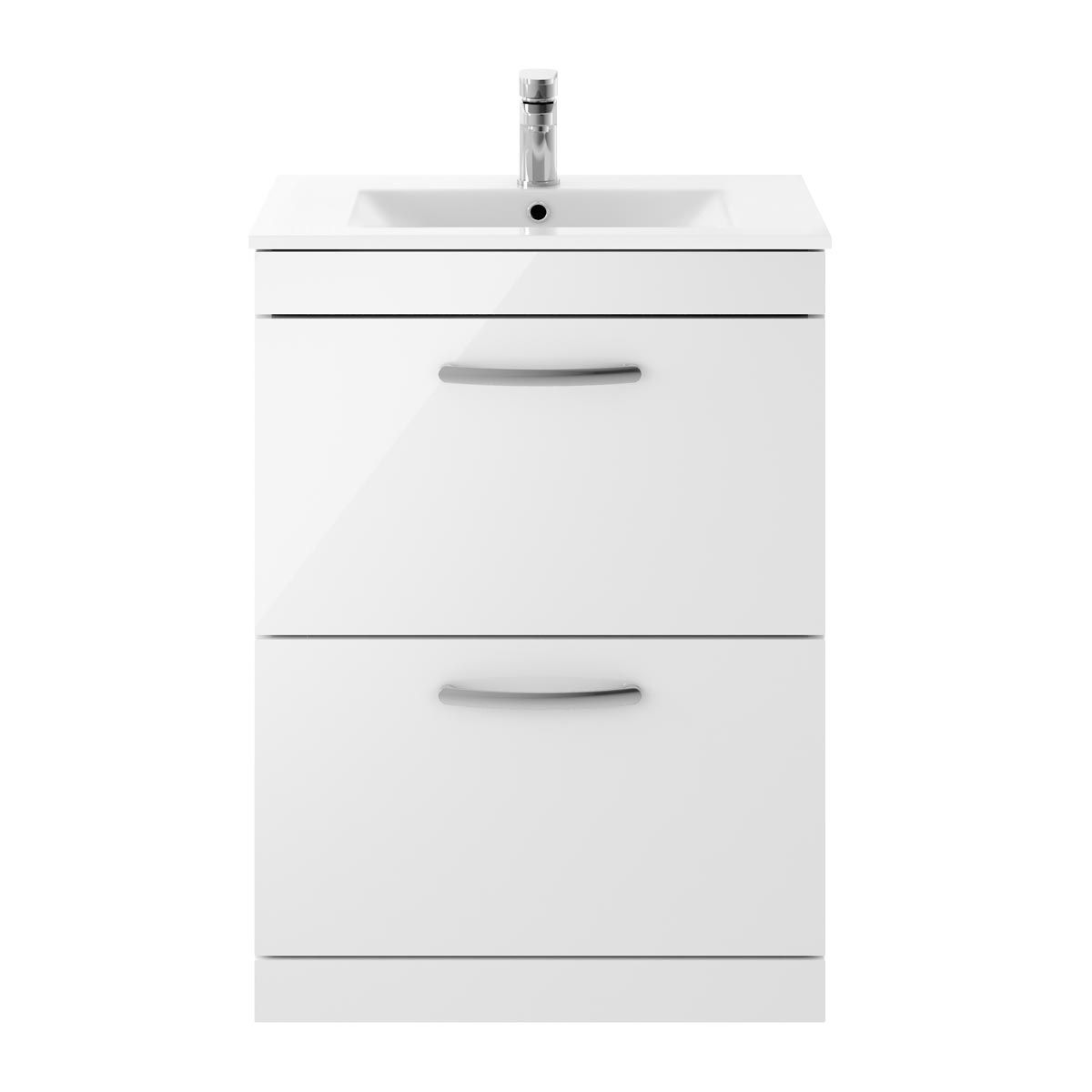 Nuie Athena Gloss White 2 Drawer Floor Standing Vanity Unit with 18mm Profile Basin 600mm