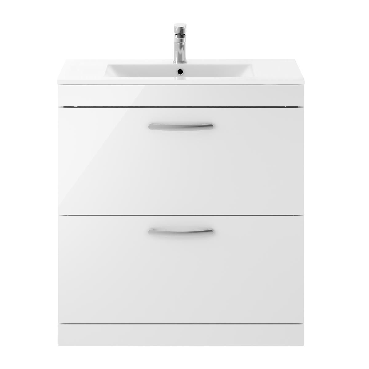 Nuie Athena Gloss White 2 Drawer Floor Standing Vanity Unit with 18mm Profile Basin 800mm