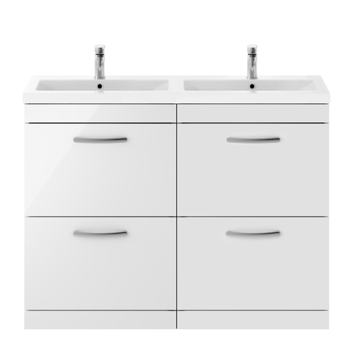 Nuie Athena Gloss White 4 Drawer Floor Standing Vanity Unit with Ceramic Double Basin 1200mm
