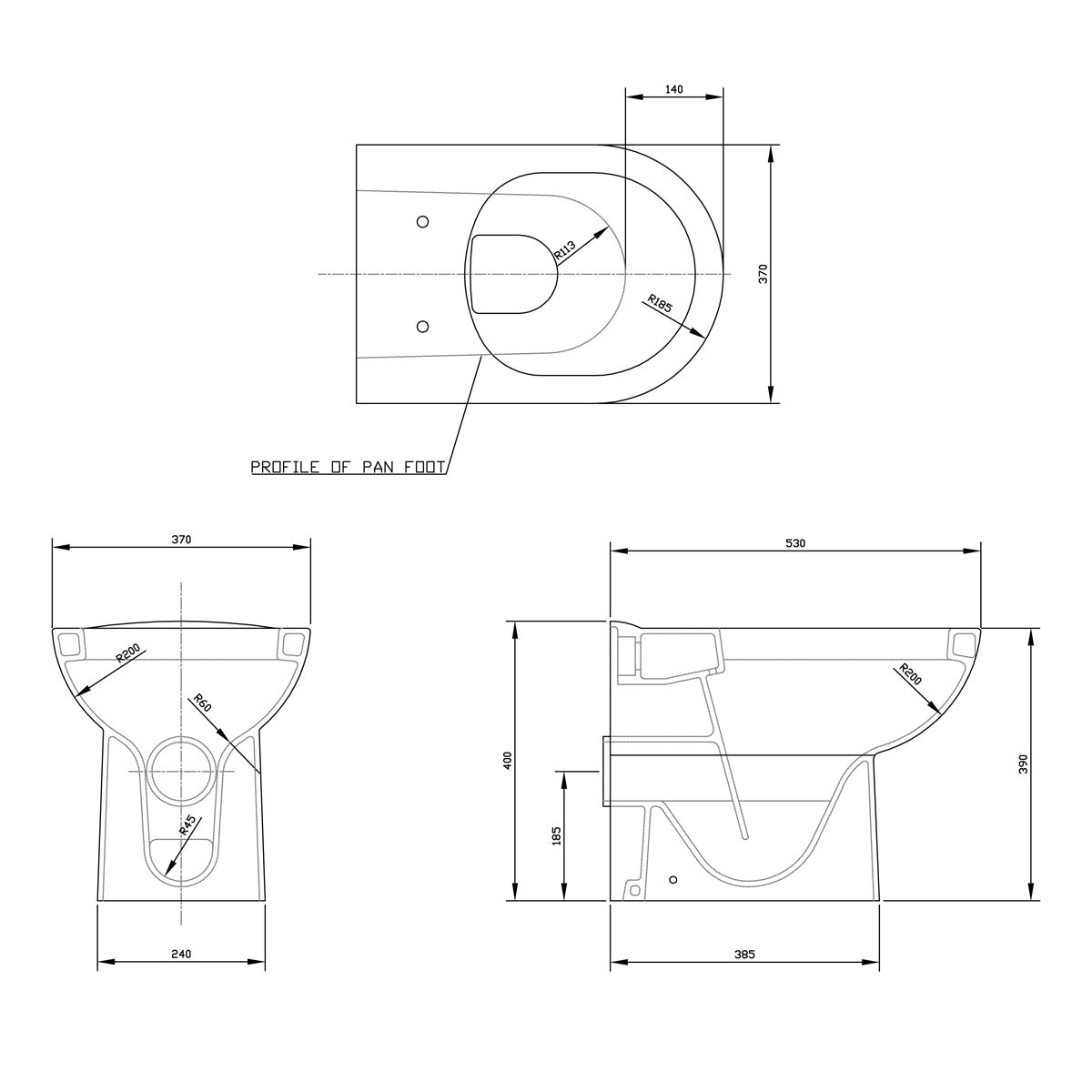 Nuie D-Shape Back To Wall Toilet Dimensions
