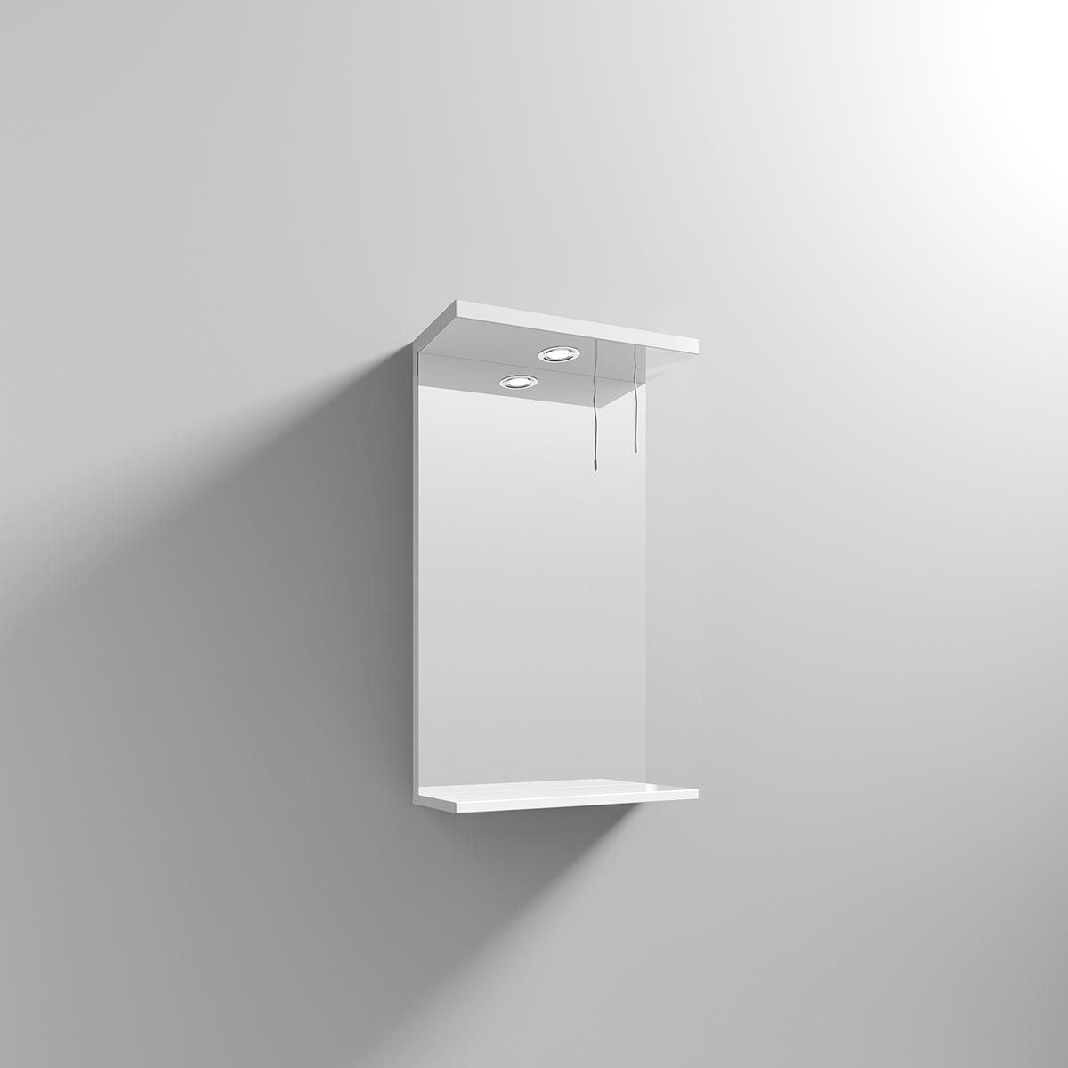 Nuie High Gloss White Bathroom Mirror and Light 450mm