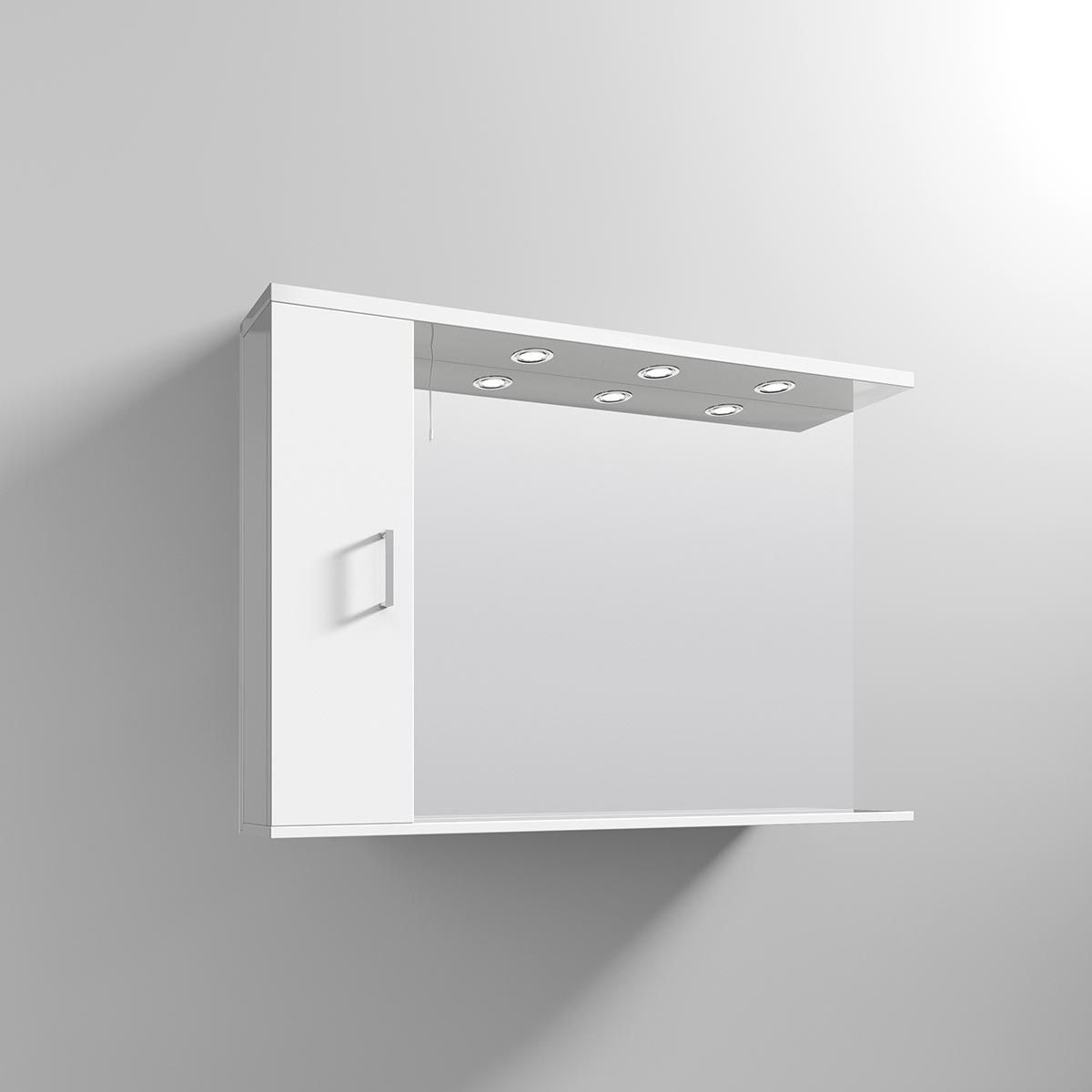 Nuie High Gloss White Bathroom Mirror Cabinet with Lights 1050mm