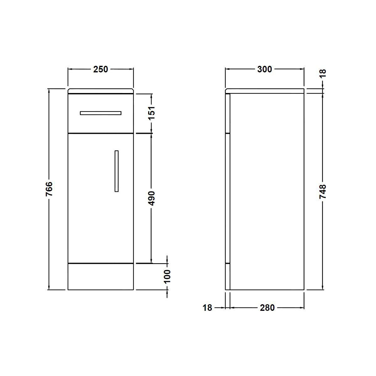 Nuie High Gloss White Cupboard 250 x 300mm Dimensions