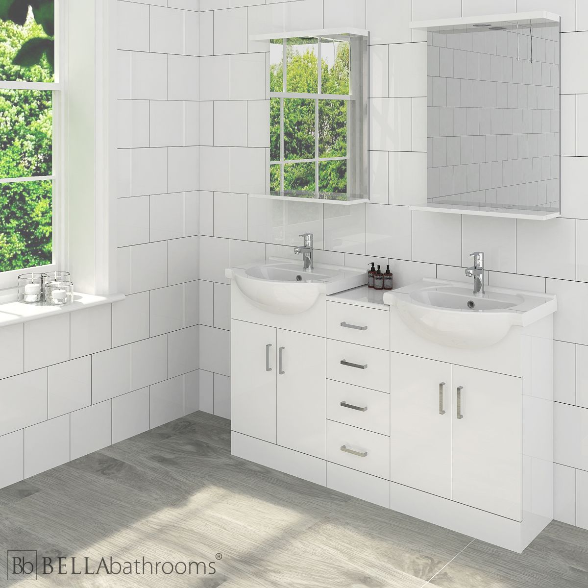 Nuie High Gloss White Double Vanity & Drawer Combination Unit