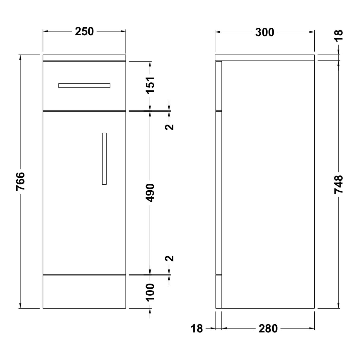 Nuie High Gloss White Storage Cupboard 250 x 300mm Dimensions