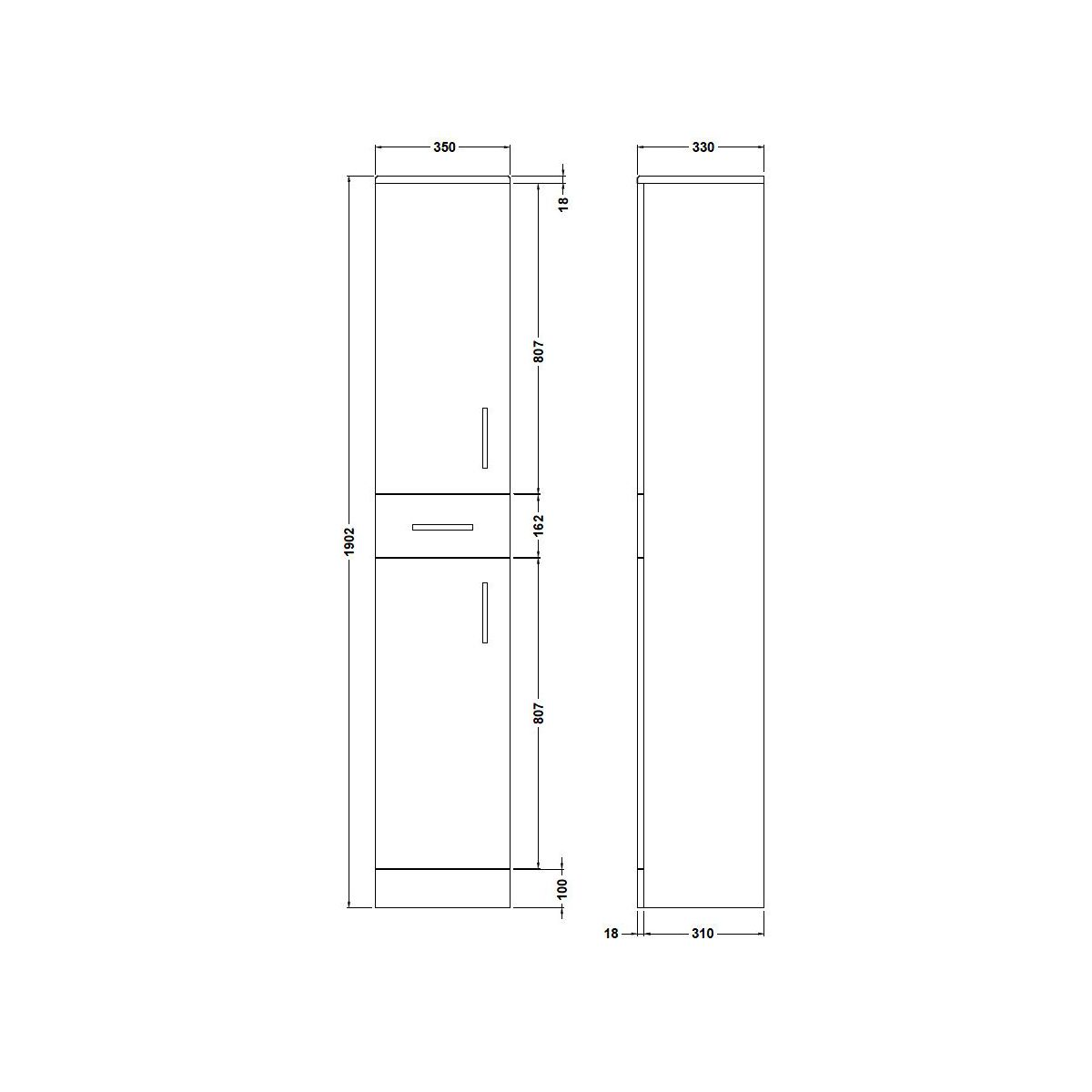 Nuie High Gloss White Tallboy Unit 350 x 330mm Dimensions