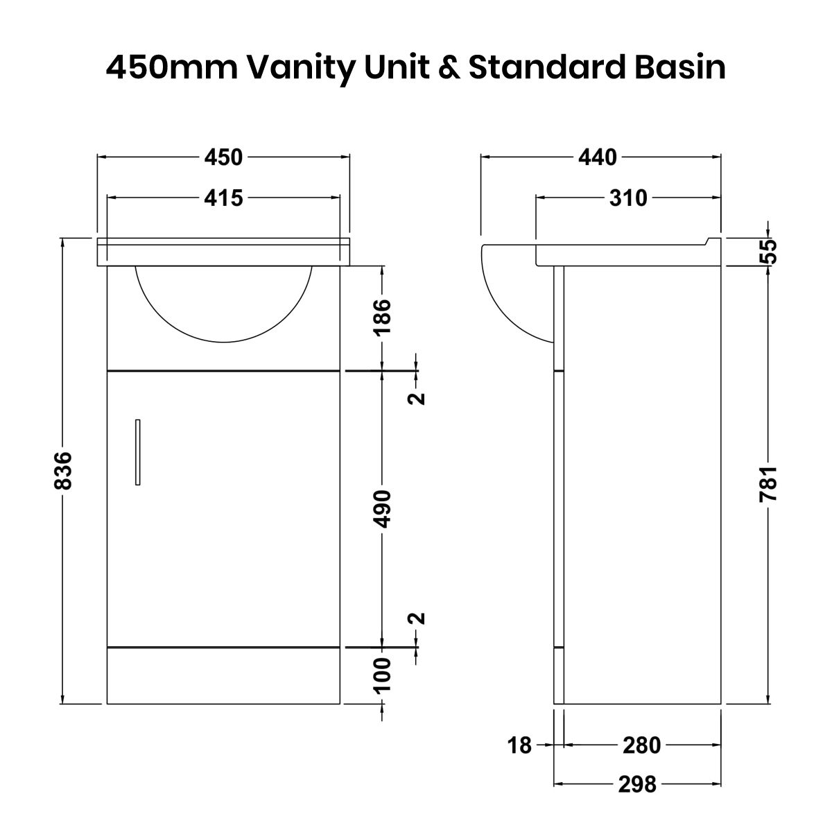 Nuie High Gloss White Vanity Unit 450mm Standard Basin Dimensions