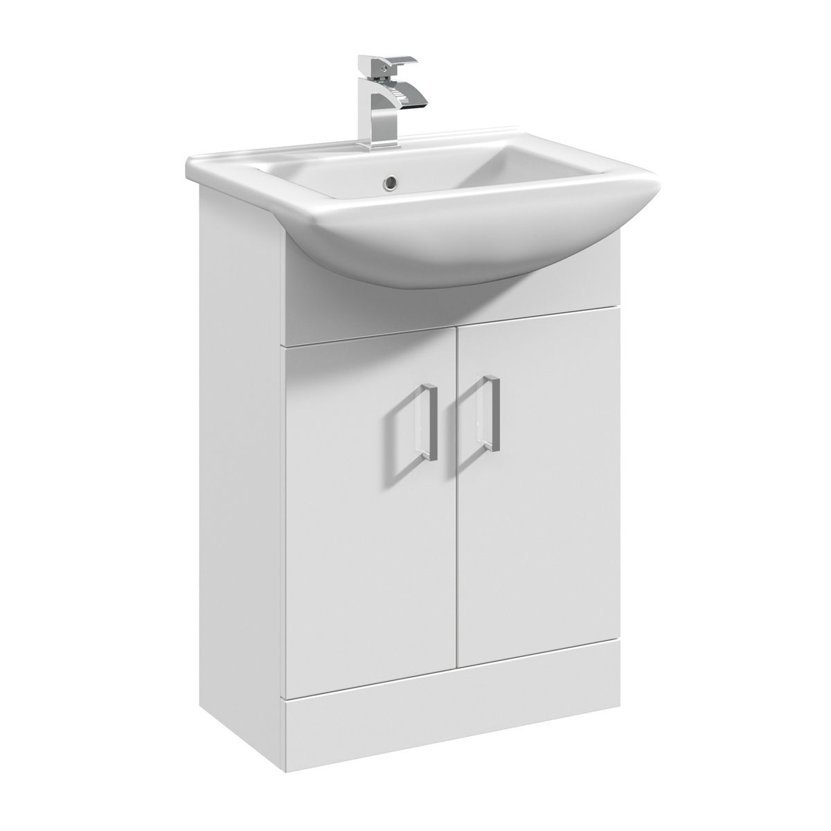 Nuie Deluxe High Gloss White Vanity Unit 550mm