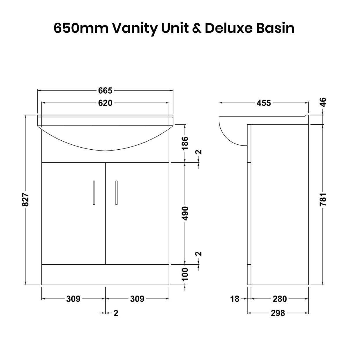 Nuie High Gloss White Vanity Unit 650mm Deluxe Basin Dimensions