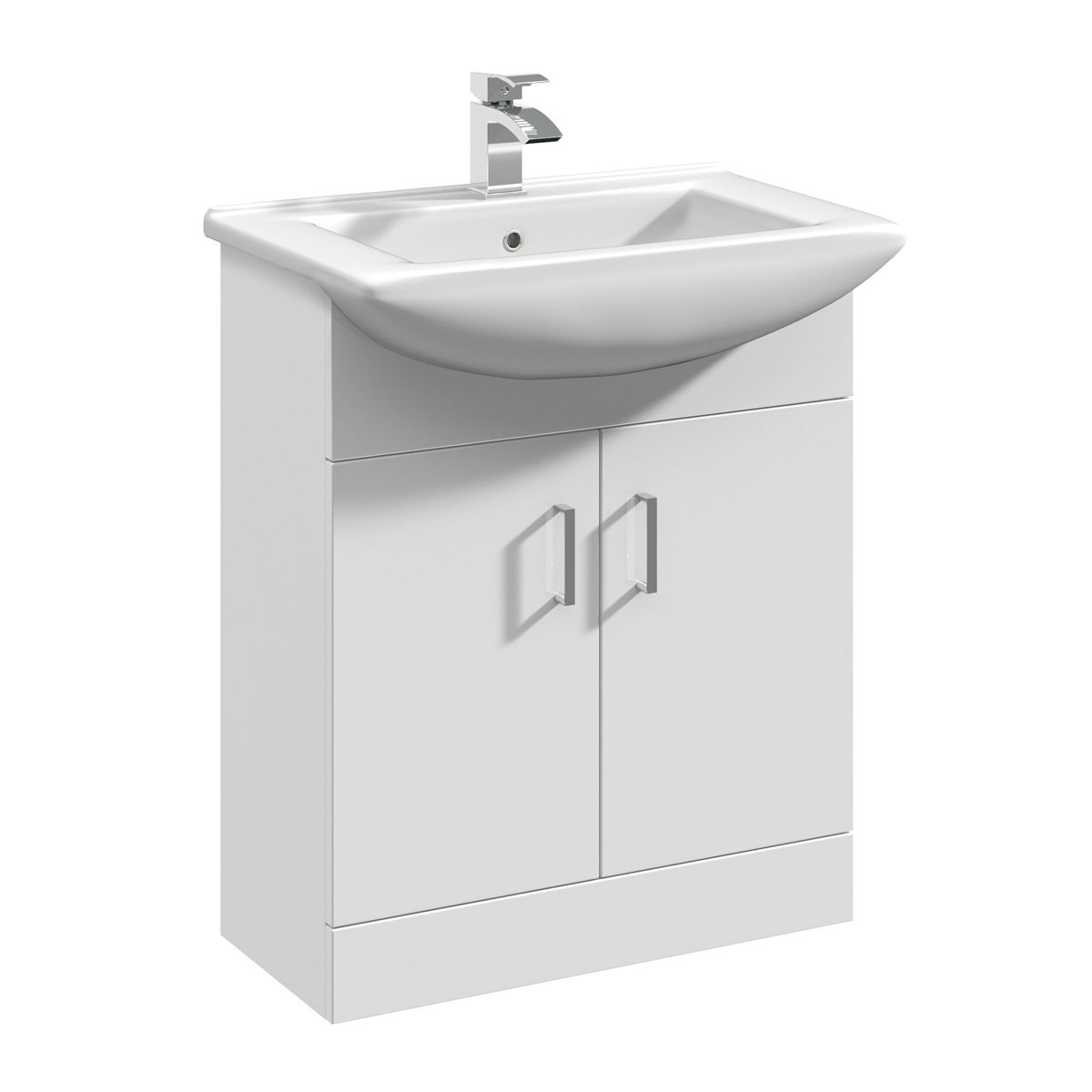 Nuie Deluxe High Gloss White Vanity Unit 650mm