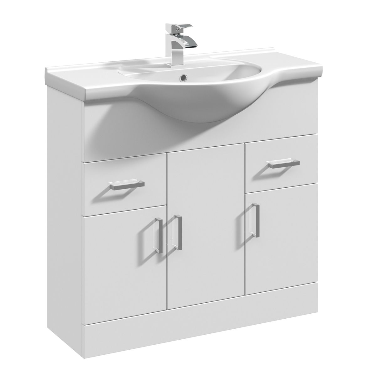 Nuie High Gloss White Vanity Unit 850mm