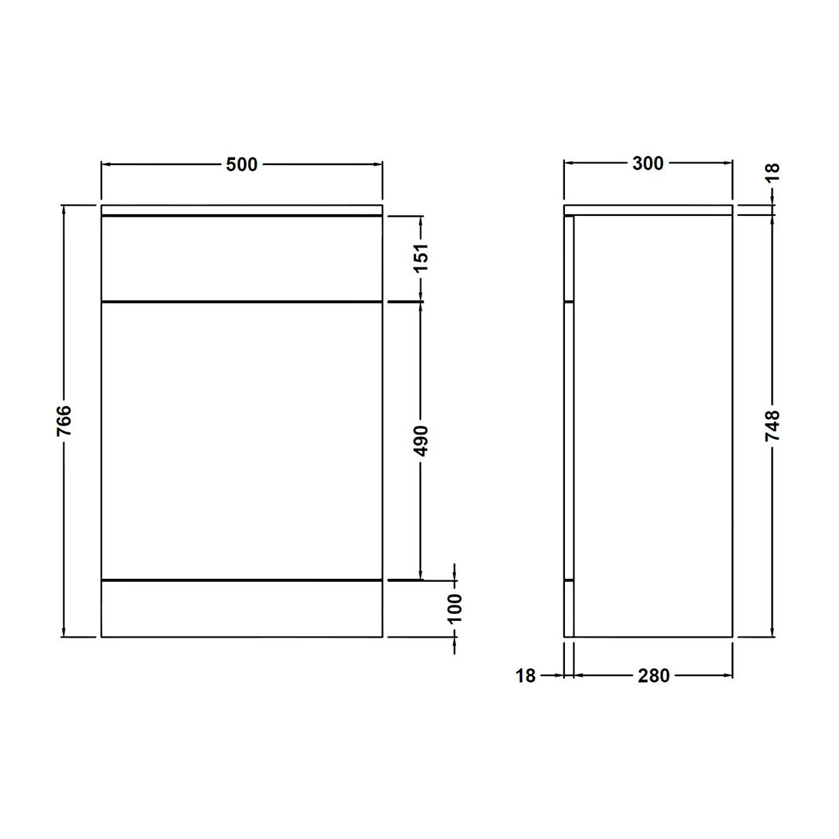 Nuie High Gloss White WC Unit 500 x 300mm Dimensions
