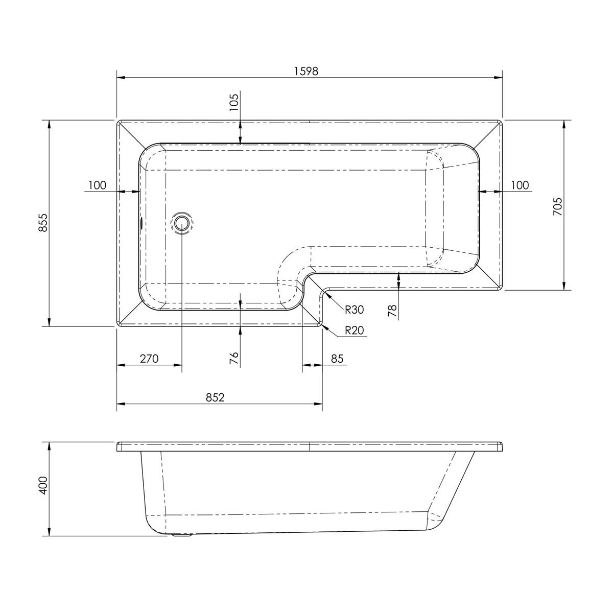 Nuie L Shaped Left Handed Shower Bath 1600mm Dimensions