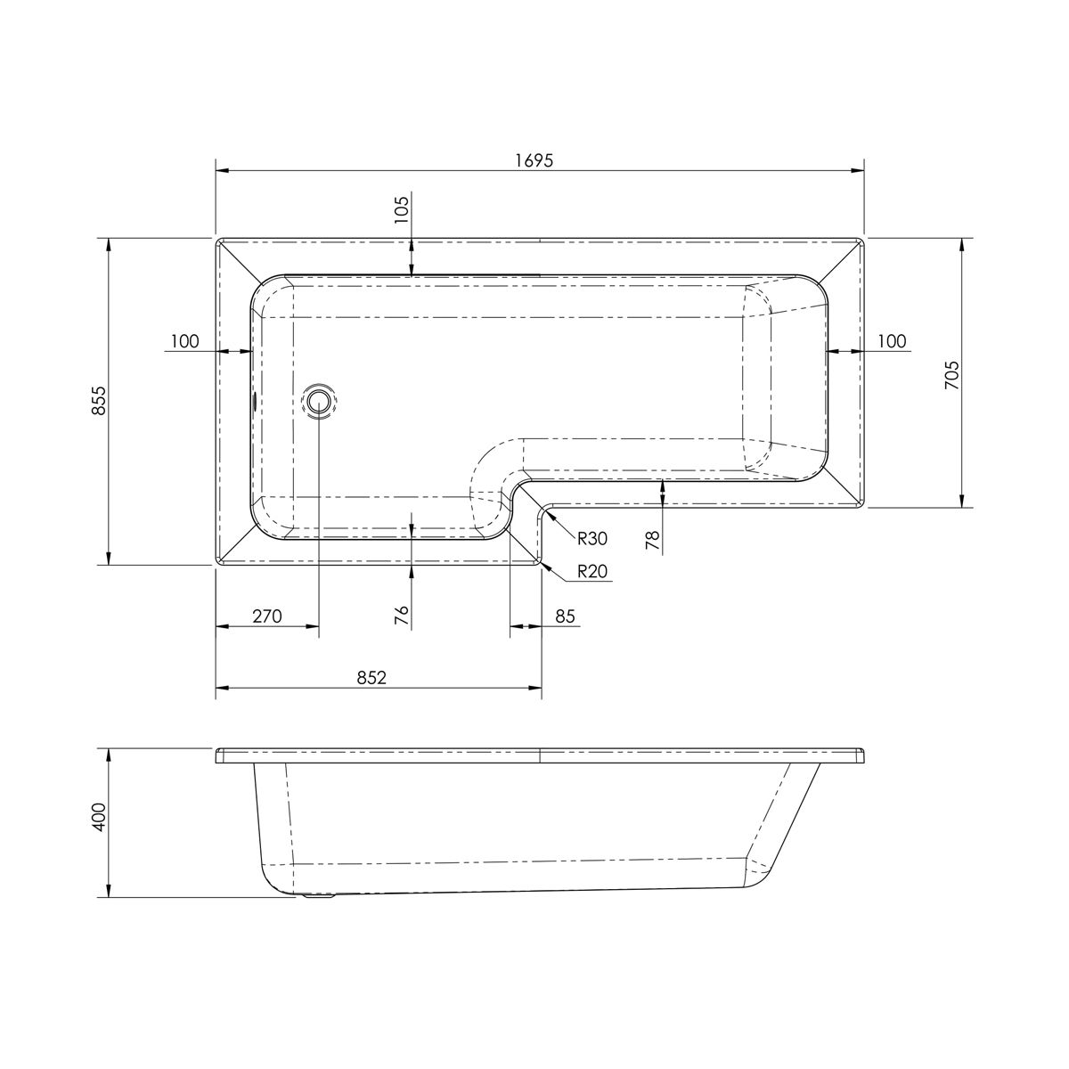 Nuie L Shaped Left Handed Shower Bath 1700mm Dimensions