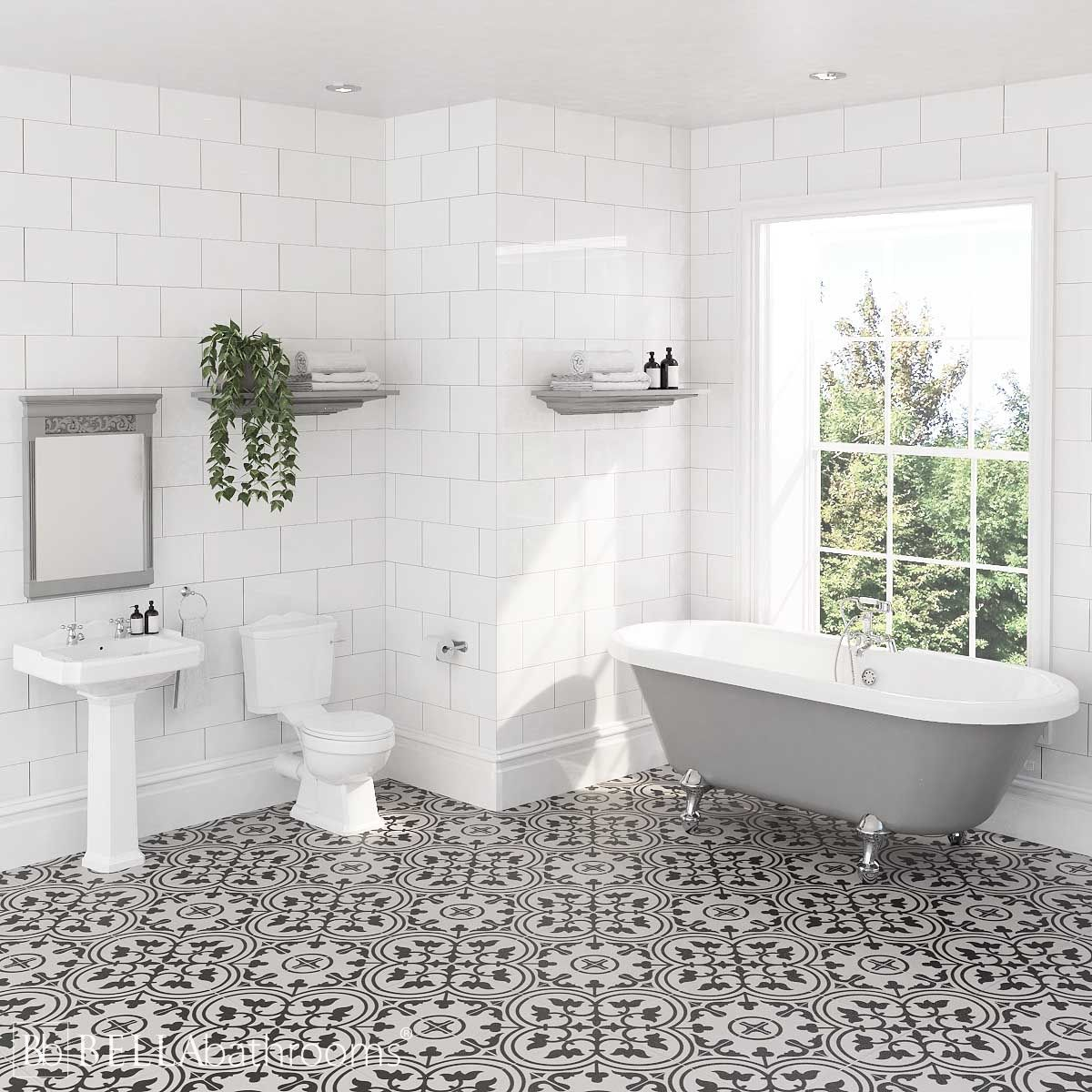 Nuie Legend Traditional Bathroom Suite with Skipton Dove Grey Freestanding Bath