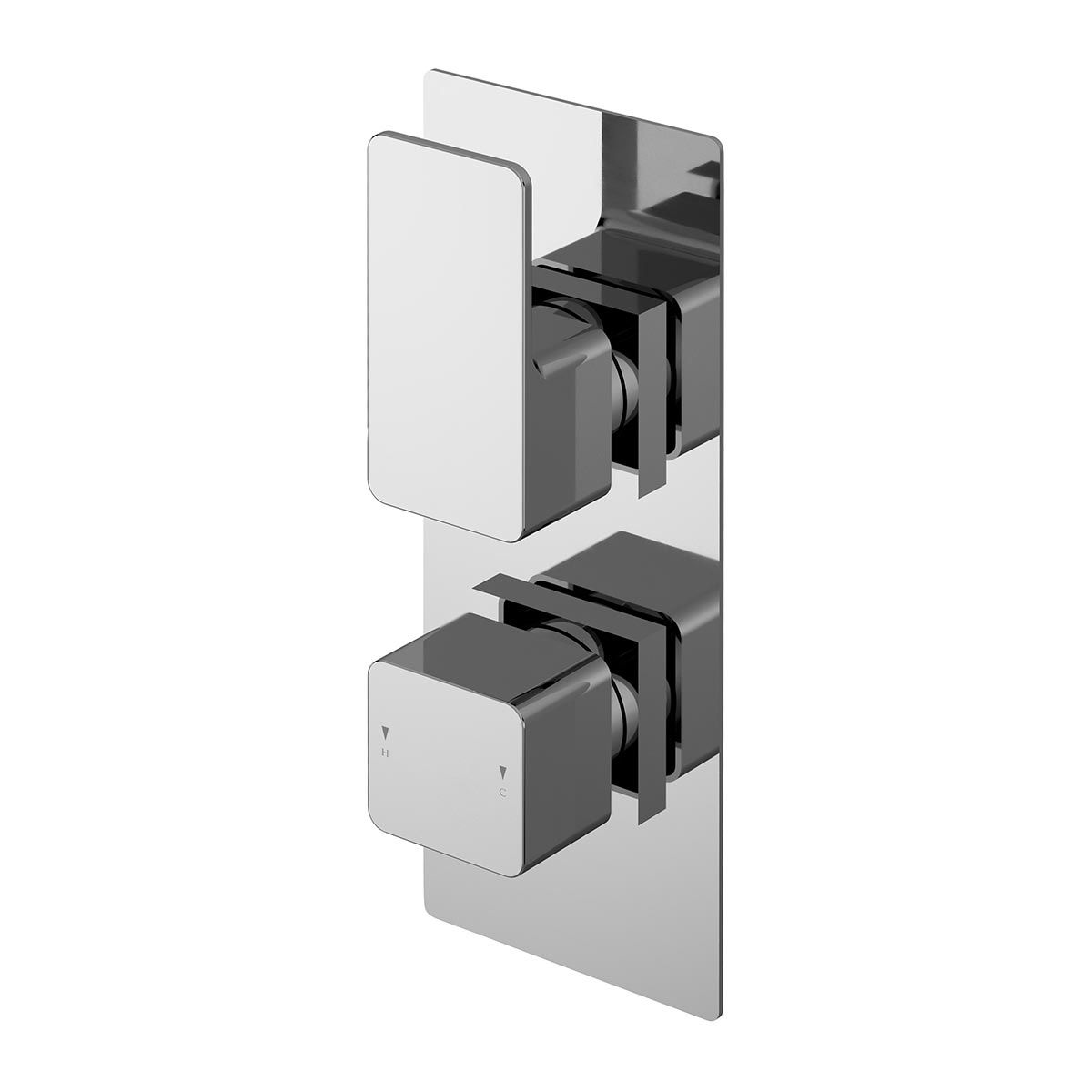 Nuie Windon Chrome Square Twin Thermostatic Valve