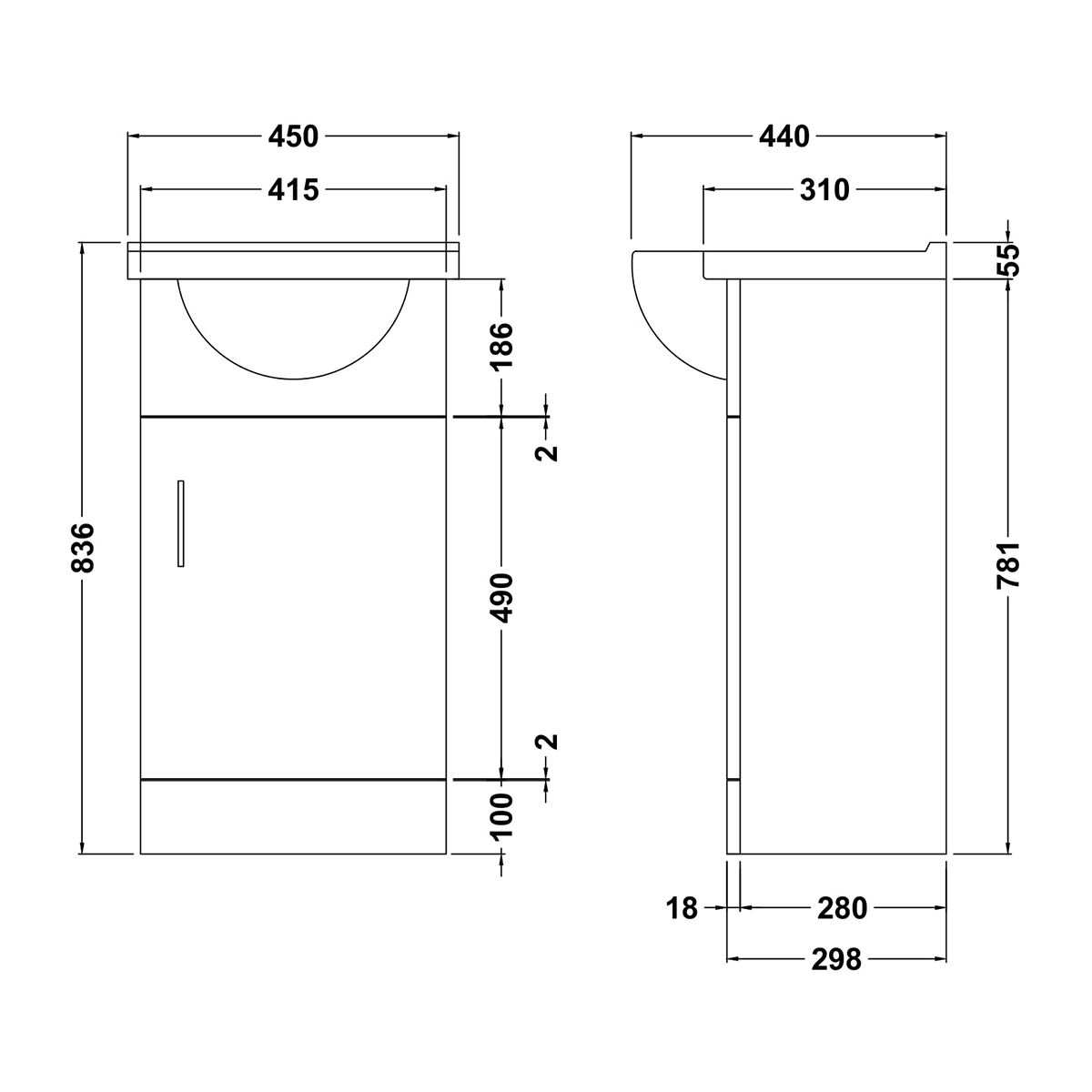 Nuie Mayford White Gloss Basin Unit 450mm Line Drawing