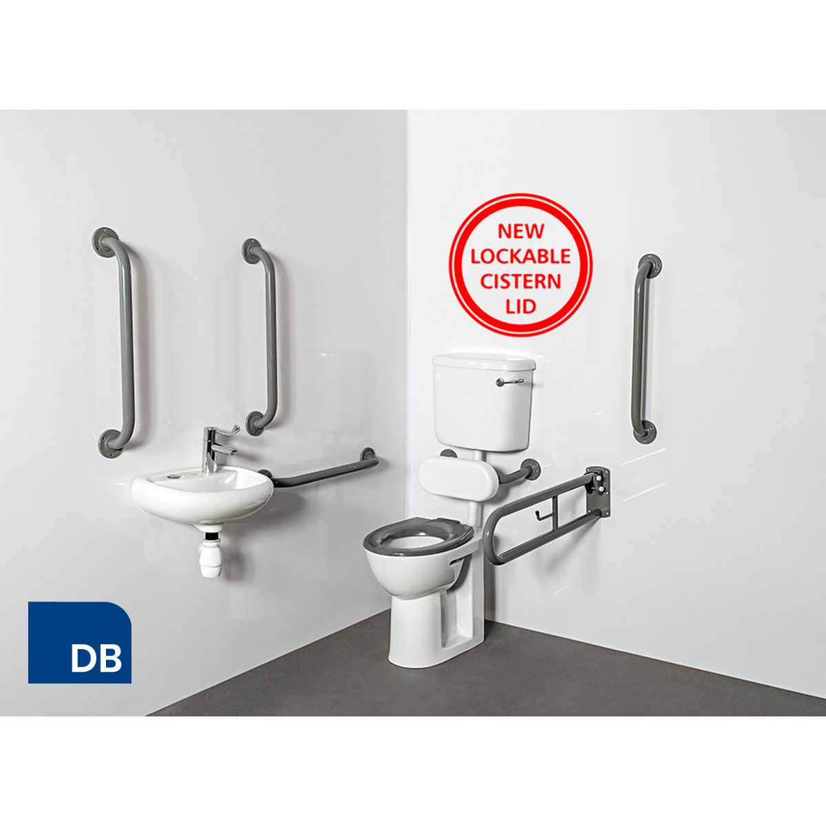 Nymas Low Level Dark Blue Doc M Pack with Lockable Cistern