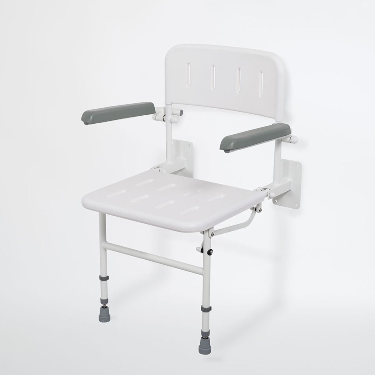 Nymas Wall Mounted White Shower Seat with Arms & Back Support