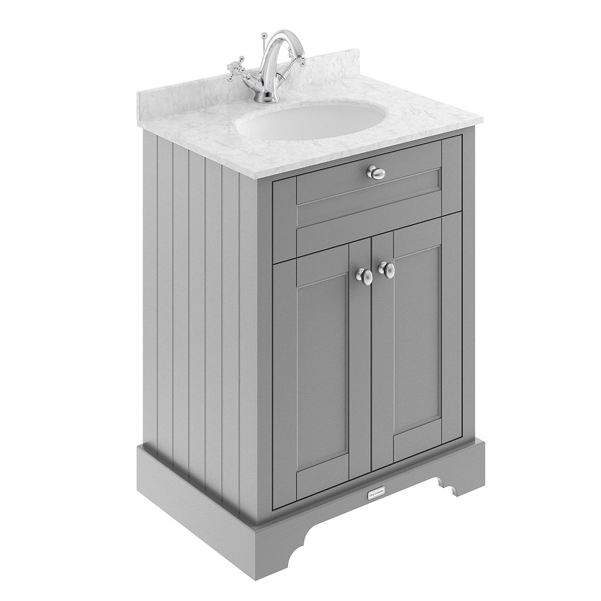 Old London Storm Grey Vanity Unit with Marble Top 600mm