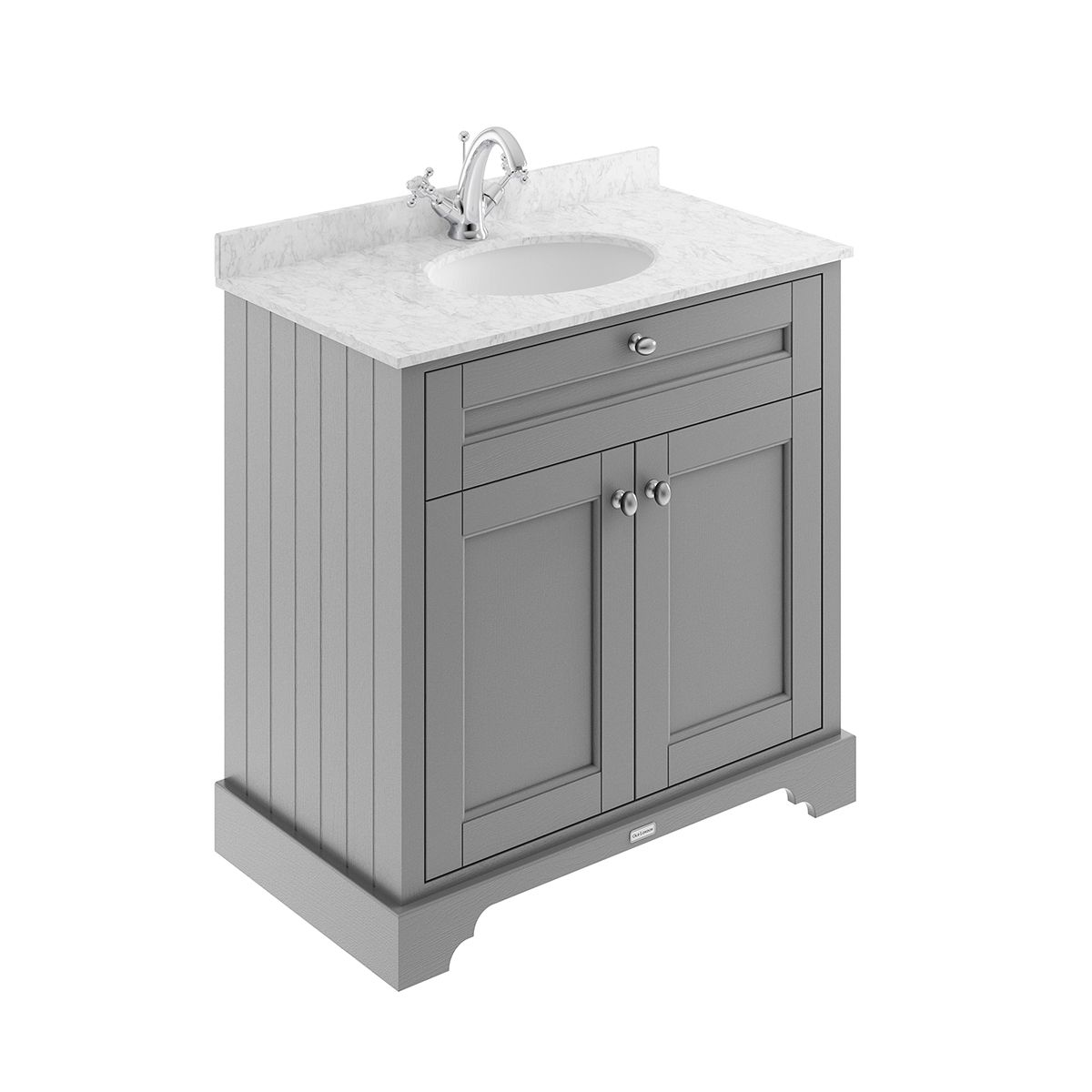 Old London Storm Grey Vanity Unit with Marble Top 800mm