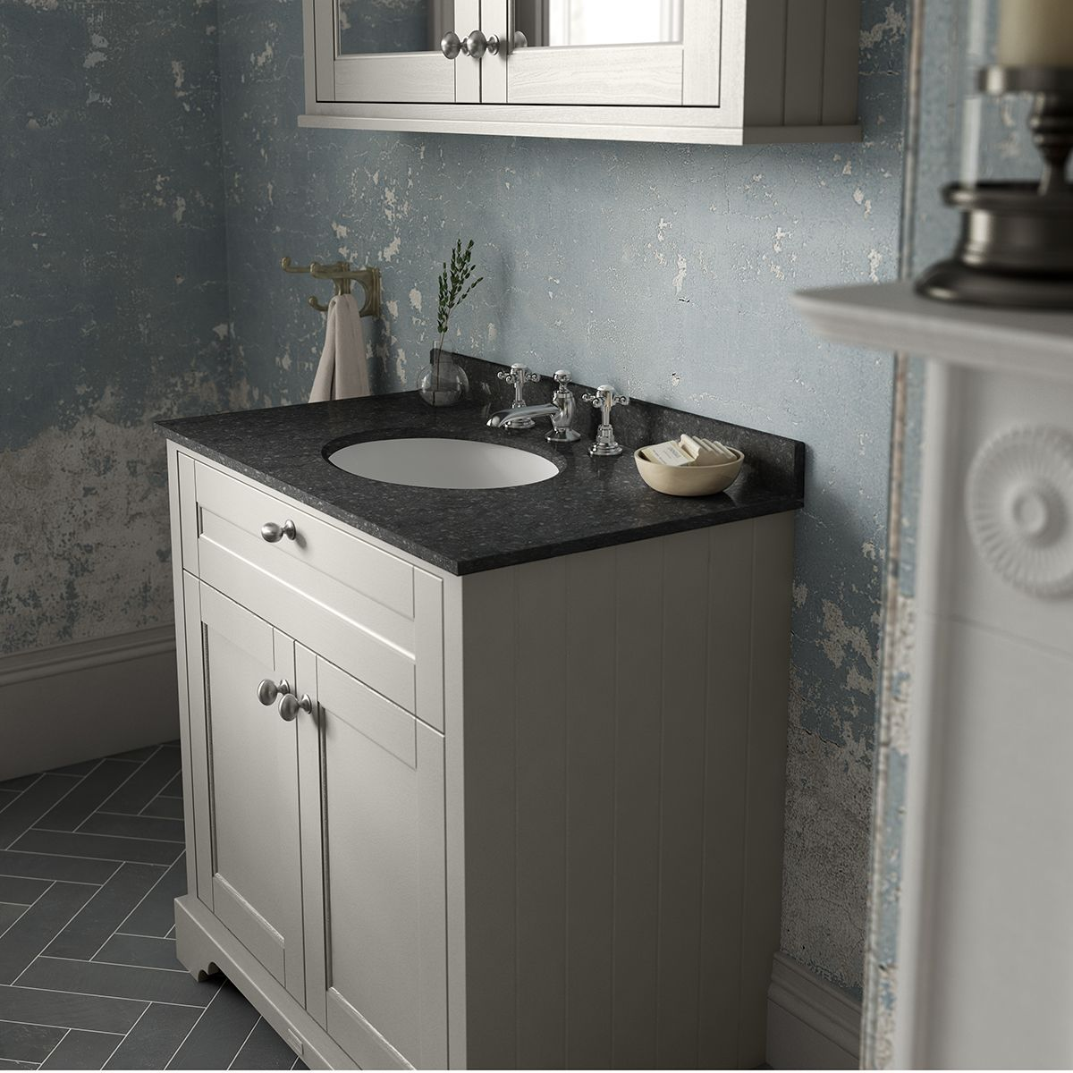 Old London Timeless Sand Vanity Unit With Black Marble Top 600mm