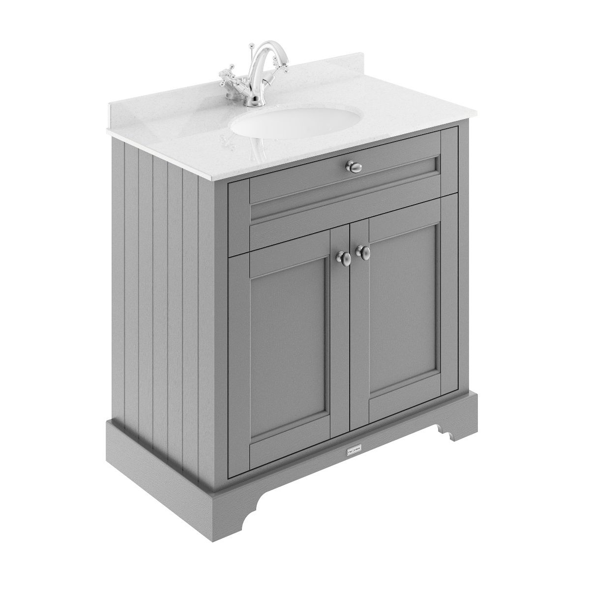 Old London Storm Grey Vanity Unit with White Marble Top 800mm