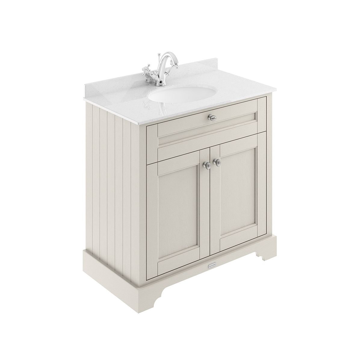 Old London Timeless Sand Vanity Unit with White Marble Top 800mm
