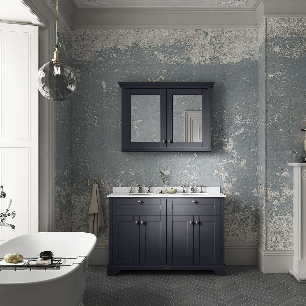 Old London Twilight Blue Vanity Unit With White Marble Top 1200mm