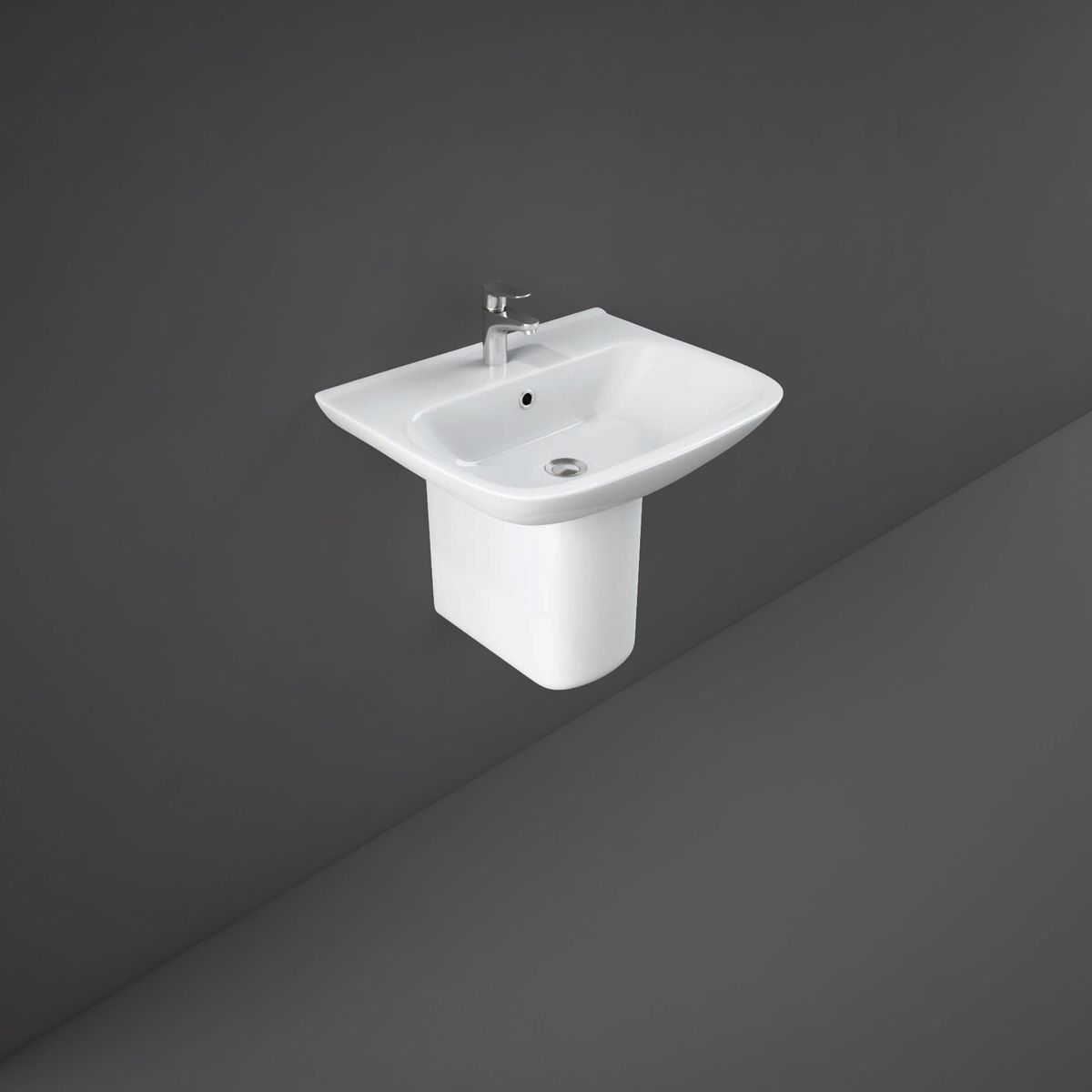 RAK Origin 62 1 Tap Hole Basin with Semi Pedestal 650mm