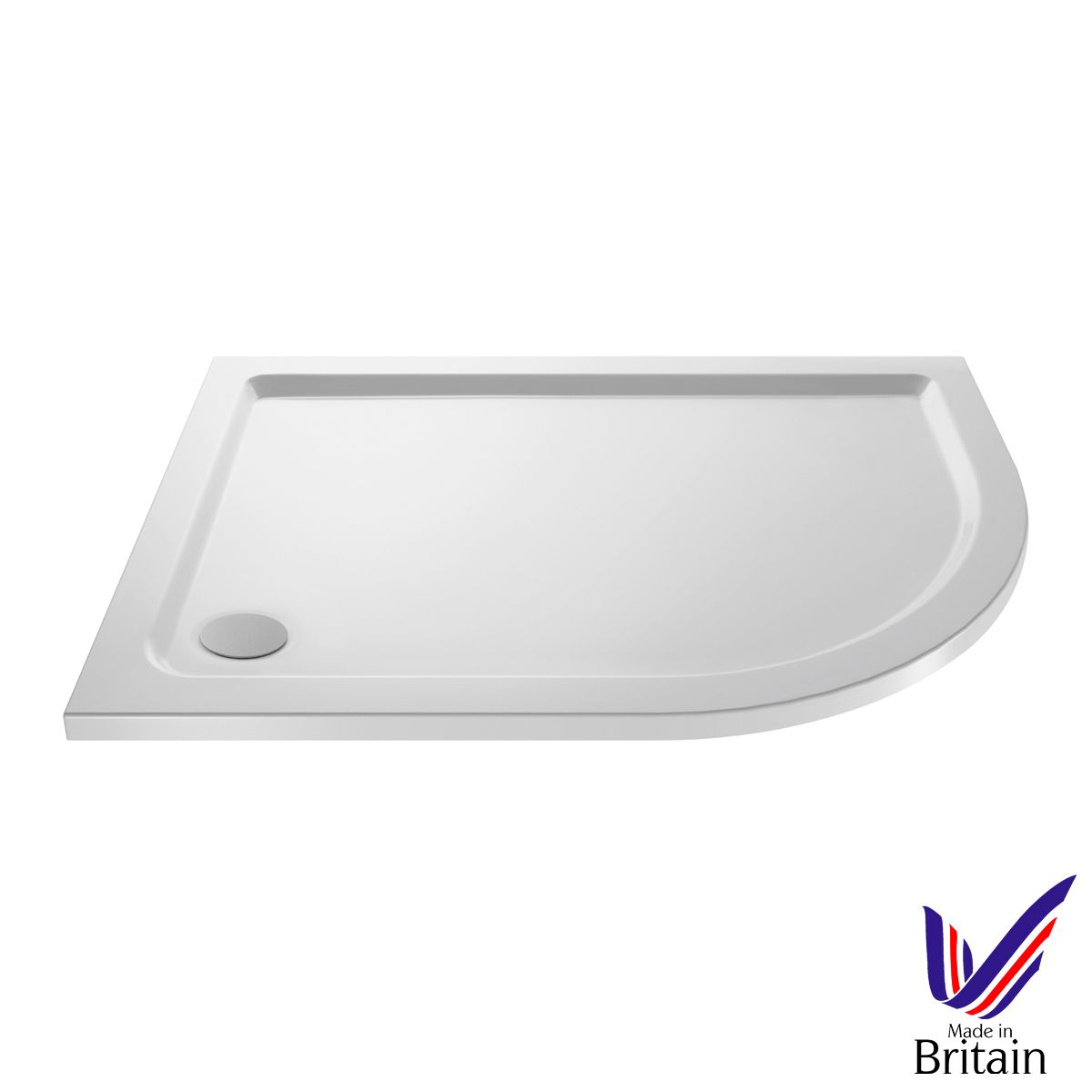 1000 x 800 Shower Tray Offset Quadrant Low Profile Right Hand by Pearlstone