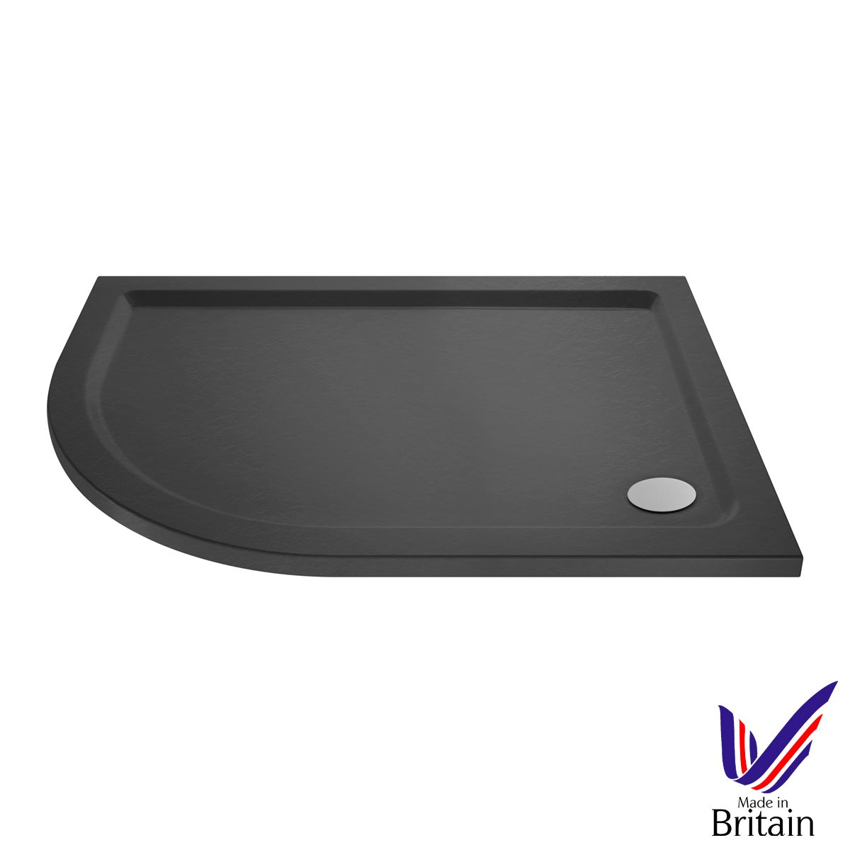 900 x 760 Shower Tray Slate Grey Offset Quadrant Low Profile Left Hand by Pearlstone