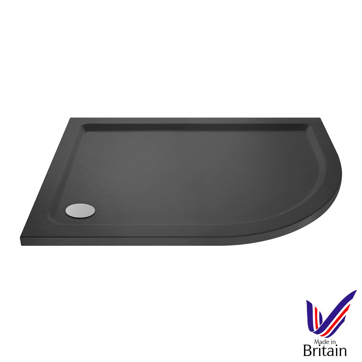 1000 x 800 Shower Tray Slate Grey Offset Quadrant Low Profile Right Hand by Pearlstone
