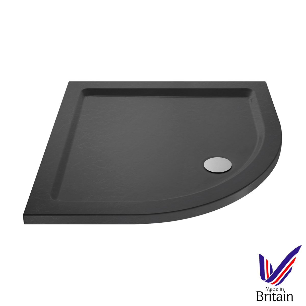 900 x 900 Shower Tray Slate Grey Quadrant Low Profile by Pearlstone