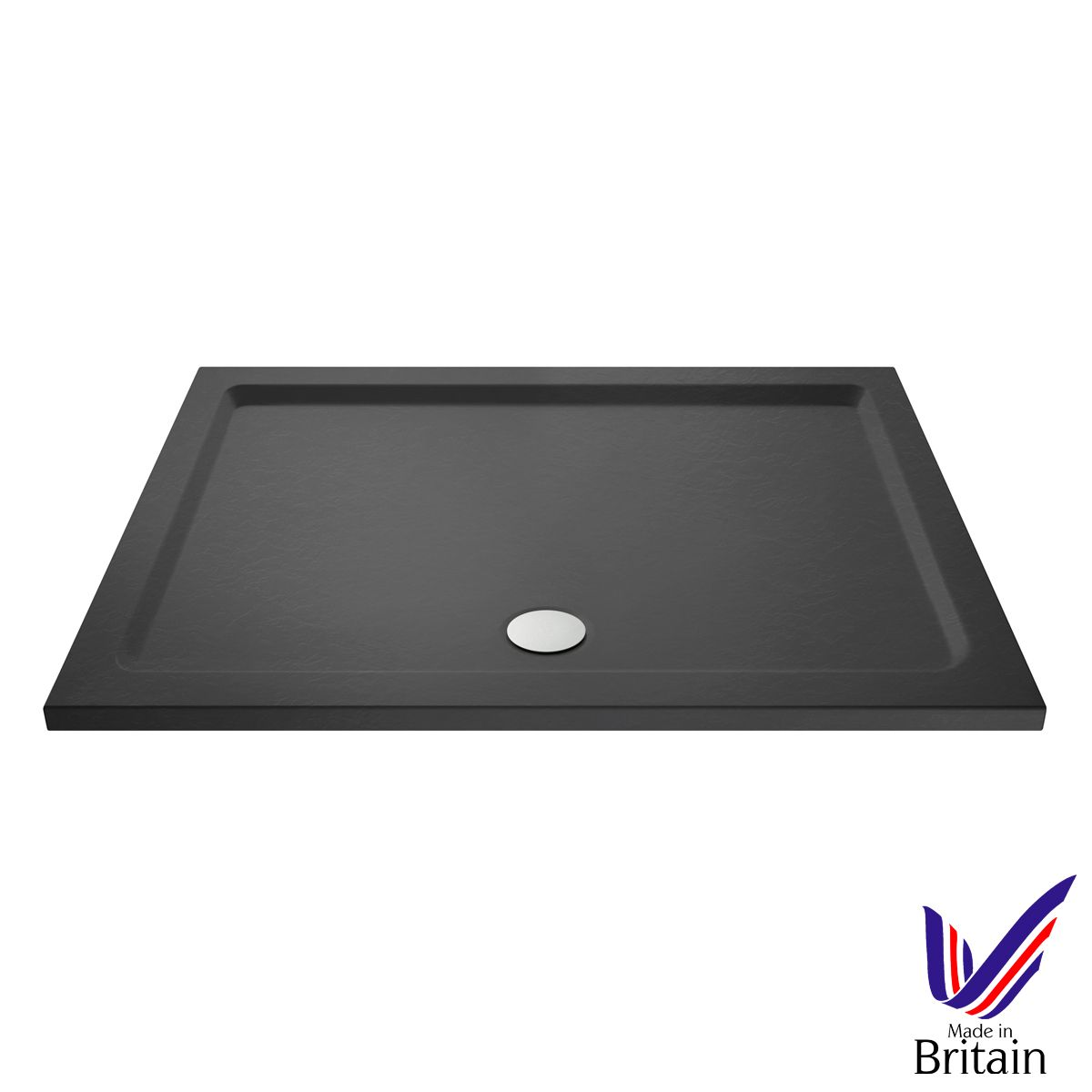 1600 x 760 Shower Tray Slate Grey Rectangular Low Profile by Pearlstone